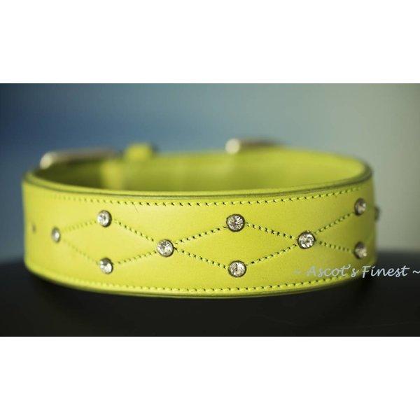 Neon groene halsband van zacht rundleer met strass - 50 cm