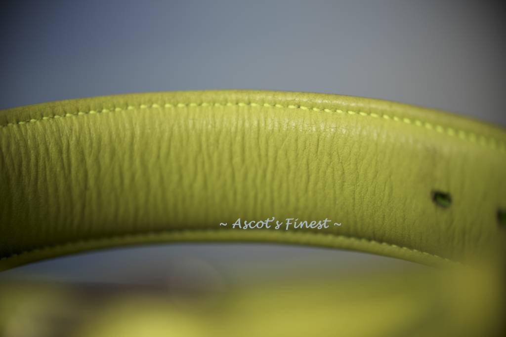 Ascot's Finest Neon groene halsband van zacht rundleer met strass - 50 cm