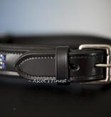 Ascot's Finest Zwarte halsband met blauwe strass steentjes - 50 cm