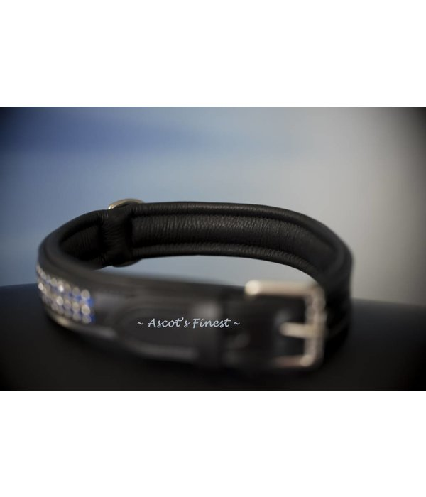Ascot's Finest Black English leather dog collar with Royal Blue strass - 50 cm