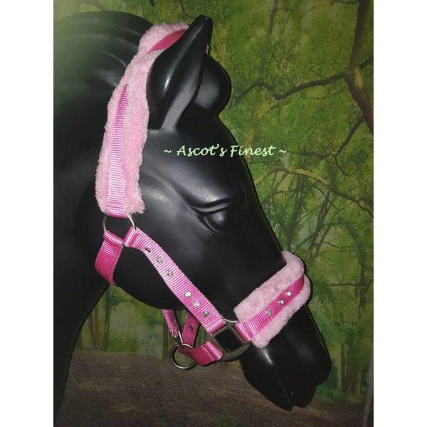 Nylon halster - Roze met strass - Mini Shet t/m XFull