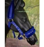 Ascot's Finest Nylon halster - Blauw met strass - Mini Shet t/m XFull
