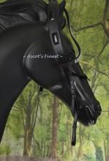 Ascot's Finest Zwart hoofdstel met anti-drukpunt kopstuk - XFull, Full en Cob