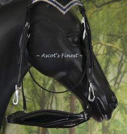 Ascot's Finest Zwart rundlederen hoofdstel met bitklips - Full en Cob