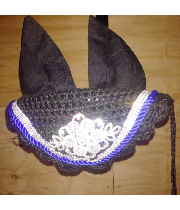 Ascot's Finest Zwart met blauw strass oornet - XFull, Full, Cob en Pony