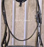 Ascot's Finest Zwart rundlederen hoofdstel met dubbele rij strass - Pony