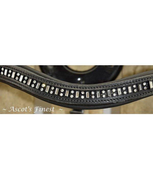 Ascot's Finest Zwart lederen hoofdstel met rubberen teugels - Cob en Full