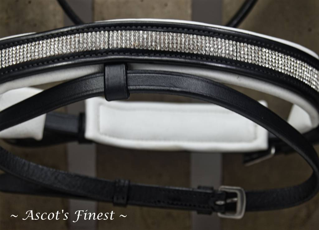 Ascot's Finest Zwart rundlederen hoofdstel, wit onderlegd, met fijne strass - Full, Cob en Pony