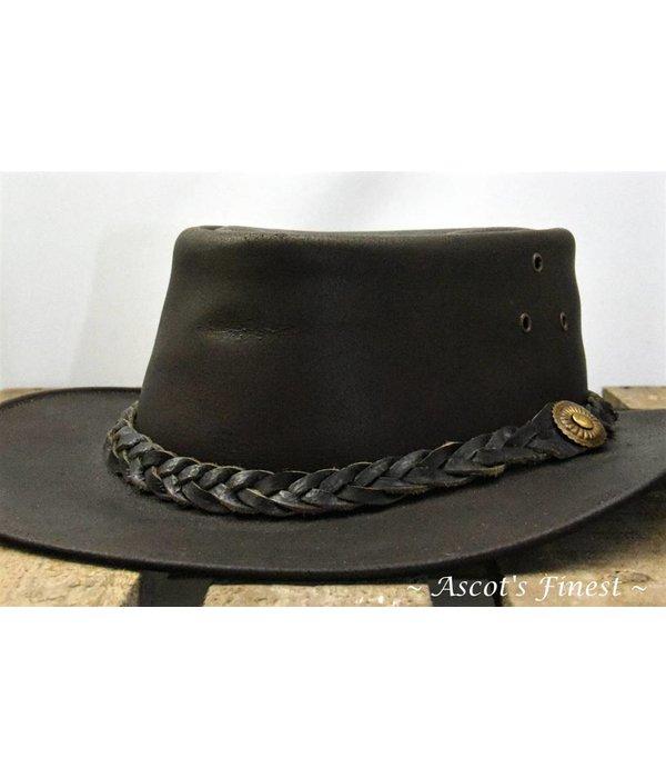 Ascot's Finest Donkerbruin rundlederen hoed