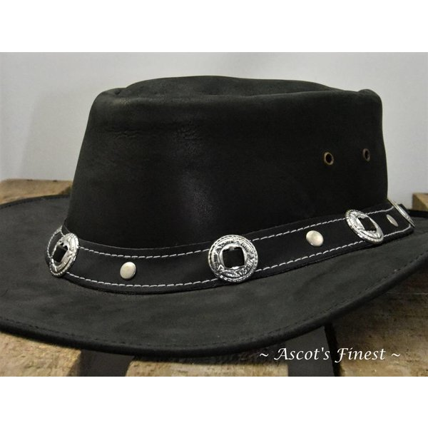 Zwart rundlederen hoed
