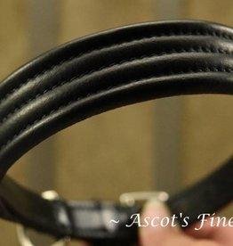 Ascot's Finest Zwart lederen halsband met stiksel - 50 cm