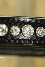 Ascot's Finest Zwart lederen halsband met witte strass - 55 cm