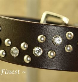 Ascot's Finest Zwart lederen halsband met studs en strass - 50 cm