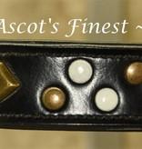 Ascot's Finest Zwart lederen halsband met studs wit en brons - 50 cm