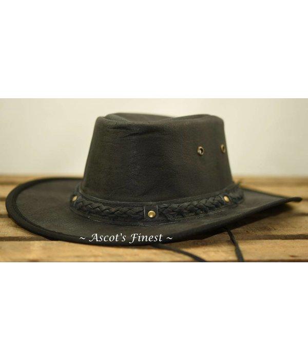 Ascot's Finest Zwarte opvouwbare hoed van rundleer