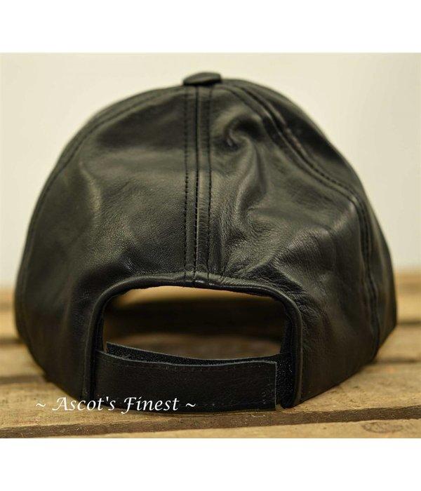 Ascot's Finest Zwart rundlederen pet - voor elke maat hoofd