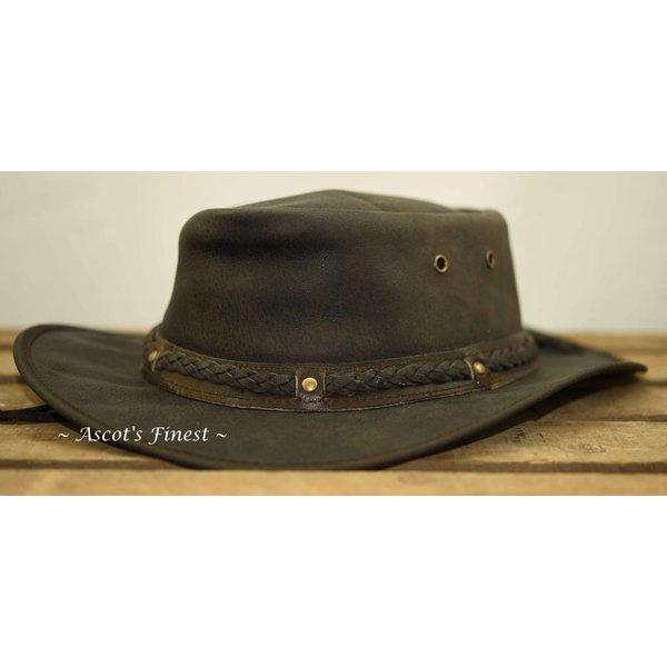 Donkerbruine opvouwbare hoed van rundleer