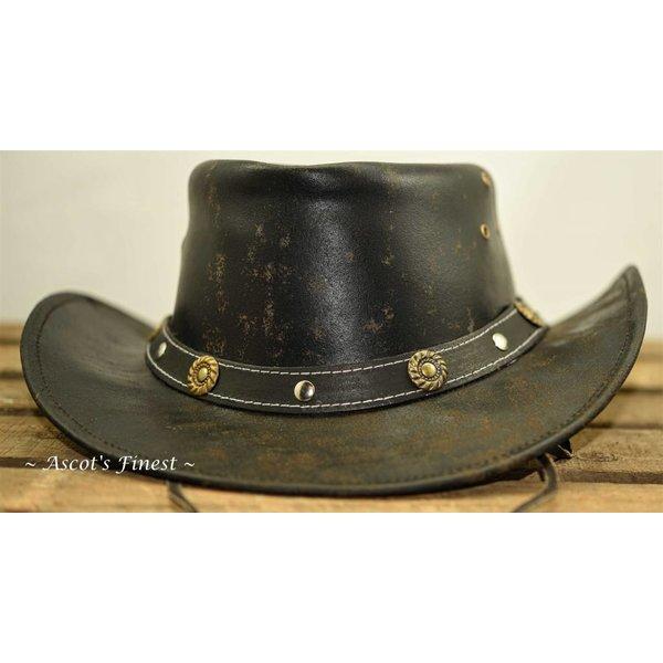 Donker gevlekte rundlederen hoed
