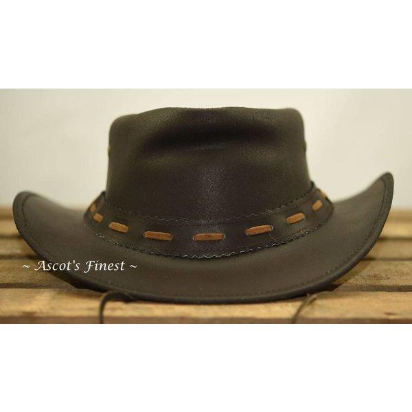 Donkerbruin rundlederen hoed met veter