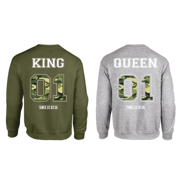 KING & QUEEN ARMY PRINT SWEATERS