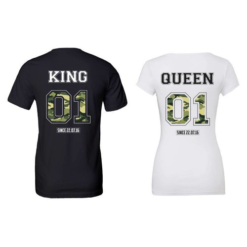 KING & QUEEN MET ARMY PRINT T-SHIRTS