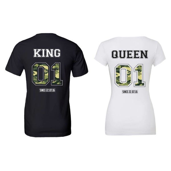 KING & QUEEN MET ARMY PRINT T-SHIRTS SET