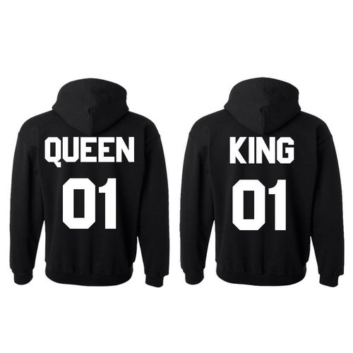 KING EN QUEEN HOODIES MET RUGNUMMER