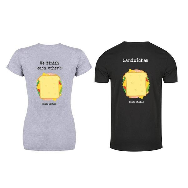 WE FINISH EACH OTHER'S SANDWICHES T-SHIRTS MET DATUM
