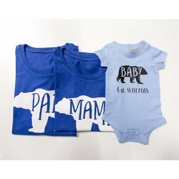 Papa, Mama & Baby Bear Gezins T-Shirts Met Datum