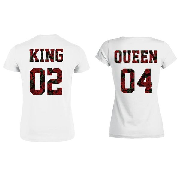 KING & QUEEN T-SHIRT SET ROSES PRINT