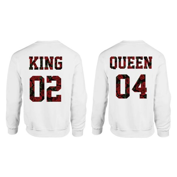 KING & QUEEN SWEATERS SET ROSES PRINT MET EIGEN RUGNUMMERS