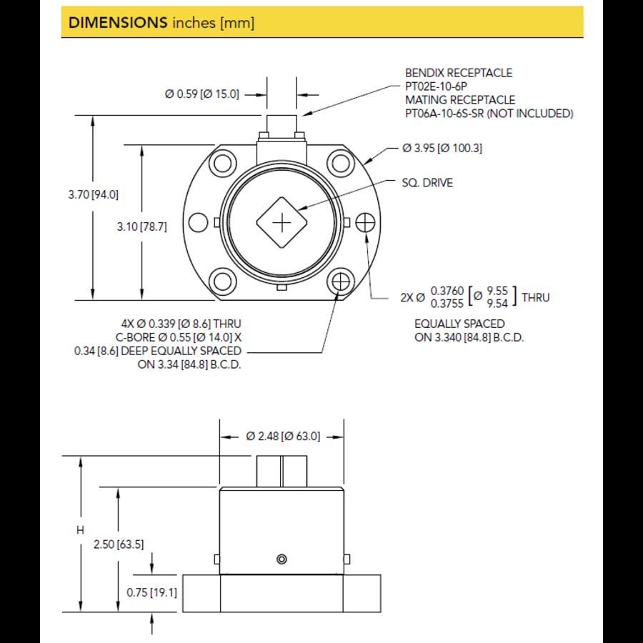 TDF600 Flange-to-Square Reaction Torque Sensor-6