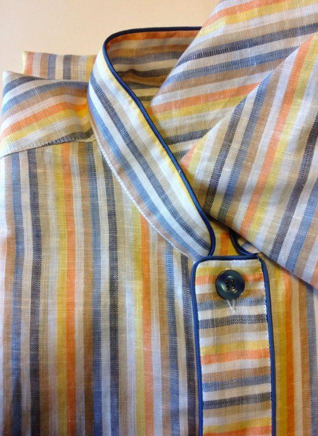 Piet Nollet Nachthemd met slaapmuts voor mannen ( in 55 % Linnen en 45 % Katoen )