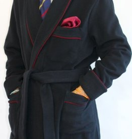 Piet Nollet CLASSIC DRESSING GOWN for MAN in 90 % WOOL - 10 % CASHMERE with PIPING AND 100 %  BEMBERG INTERIEUR .