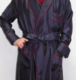 Piet Nollet Dressing Gown Classic for man in 100 % printed twill silk with pipping .
