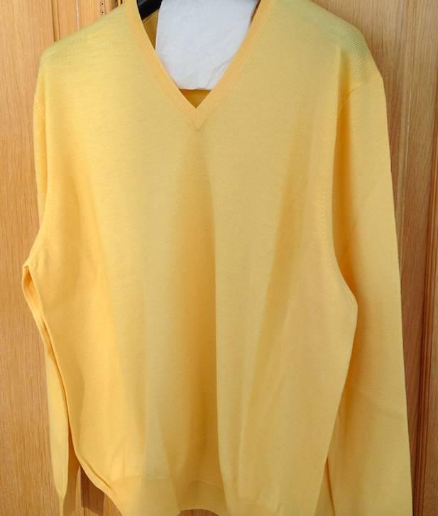 Piet Nollet Pullover Extra fijne merinowol  / Midden geel