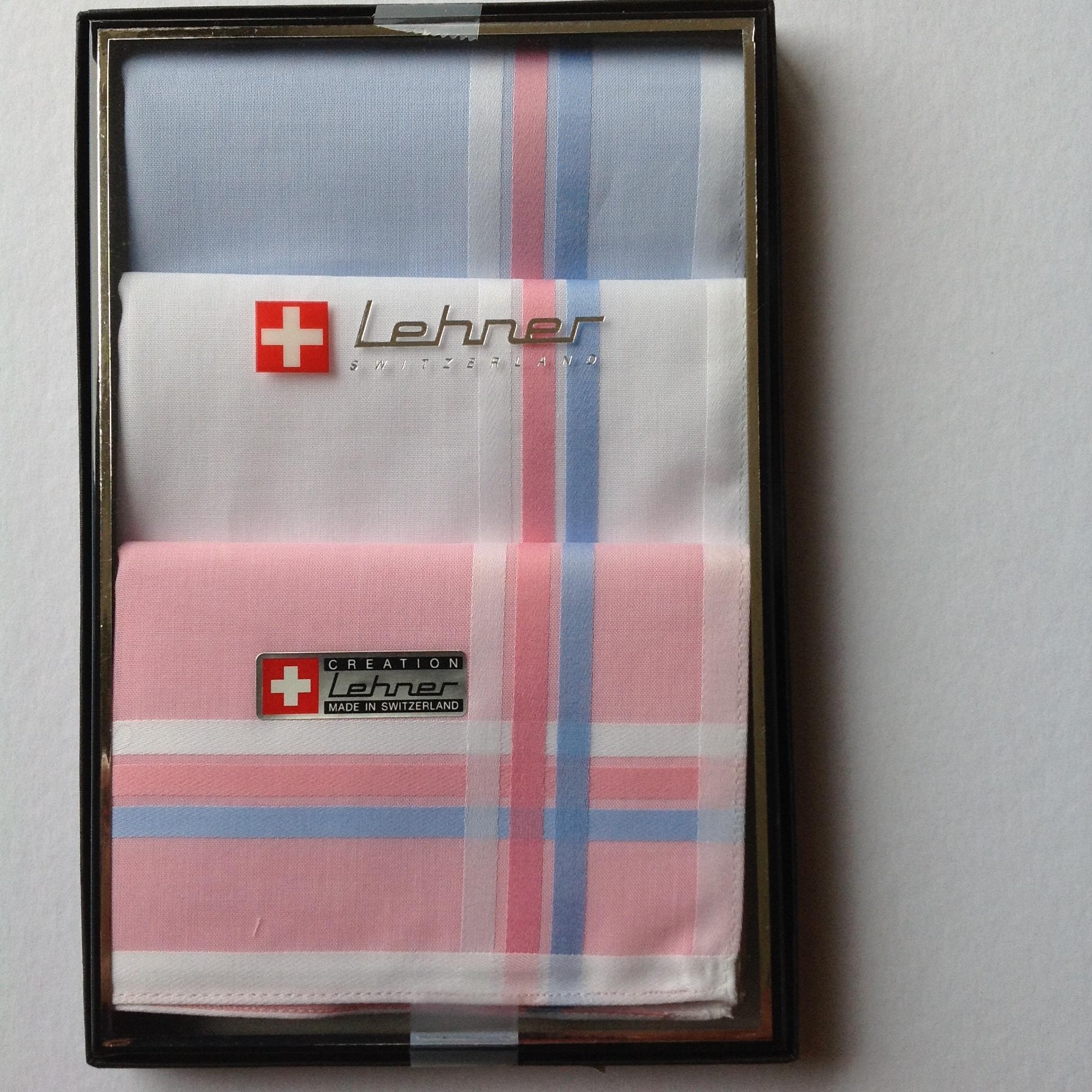 Lehner Zakdoeken voor dames: 30/30 cm (per 3 stuks) (met de hand gerold)