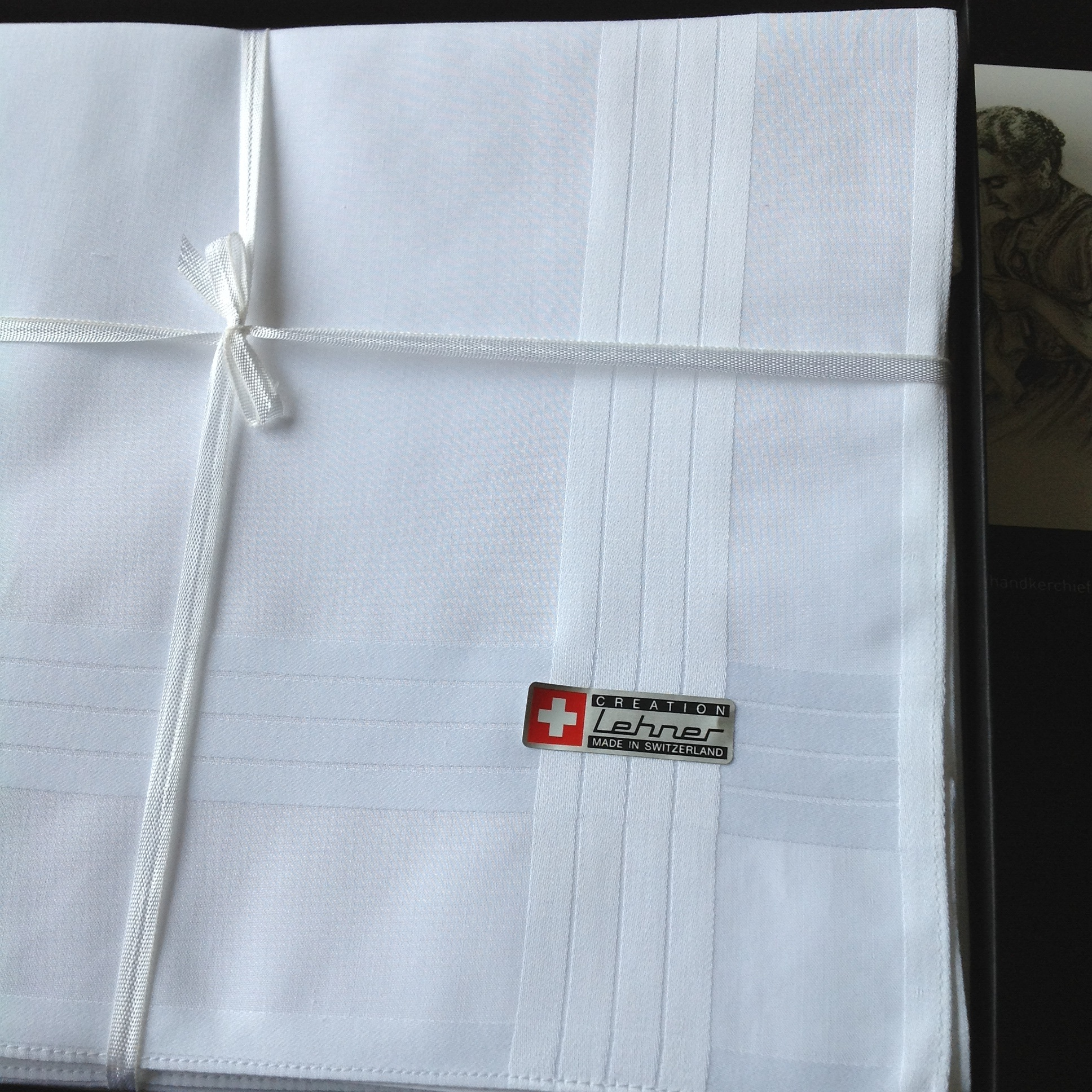 Lehner Zakdoeken Heren 48 / 48 cm ( Per 6 stuks )- Zwitsers katoen ( Gestikt )