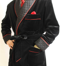 Piet Nollet Smoking Jacket in cotton velvet , for MAN with quilted solid satin contrasts and full bomber lining. - Copy