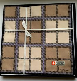 Lehner Zakdoeken Heren 43 / 43 cm - Zwitsers katoen ( Per 6 stuks ) ( Gestikt  bruin , blauw  )