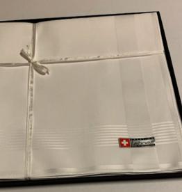 Lehner Heren zakdoeken per stuk 43/43 cm  ( Per 6 stuks )( Gestikt )  Jacquard