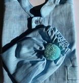 Piet Nollet Nachthemd met slaapmuts voor mannen  ( 100 %  Linnen ) met zakje