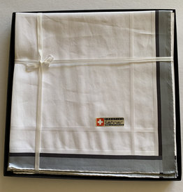 Lehner Zakdoeken Heren 43/43  cm  ( Per 6 stuks )- Zwitsers katoen ( Hand gerold )  - Copy