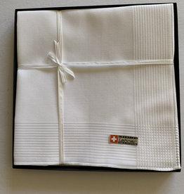 Lehner Heren zakdoeken  43/43 cm  ( Per 6 stuks ) ( Gestikt  ), / 100 % Zwitsers katoen