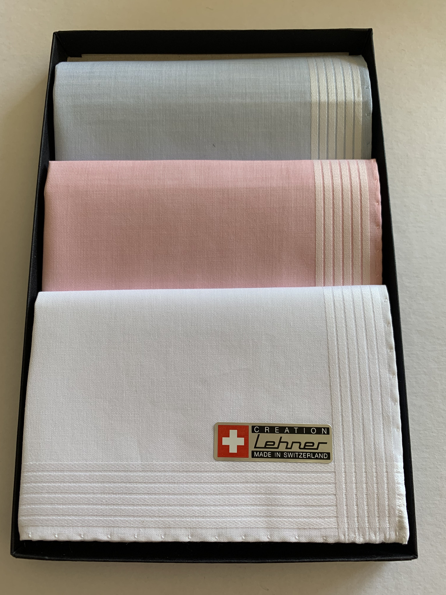 Lehner Zakdoeken voor dames: 30/30 cm  (per 3  stuks)  Handgerold