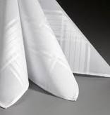 Lehner Zakdoek heren wit jacquard per 6 stuks ,48/48 cm (   handgerold )