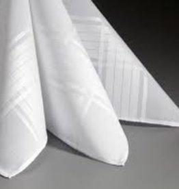 Lehner Zakdoek heren wit jacquard per 6 stuks , 48/48 cm (  handgerold )