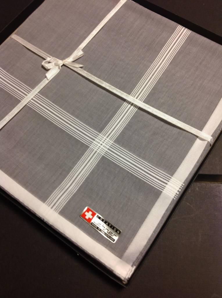 Lehner Zakdoeken Heren 48/48 cm  - Zwitsers katoen ( Handgerold ) ( Aankoop per 6 stuks )