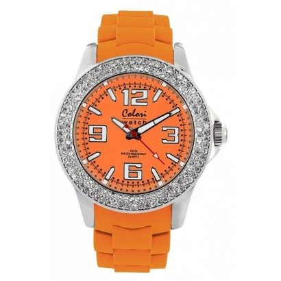 Colori Colori horloge Cool Steel oranje/strass