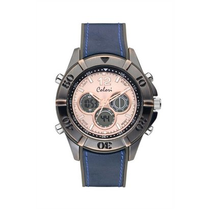 Colori Colori Horloge Timber Vintage blauw
